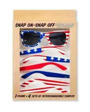 JULY 4TH SUNGLASSES CUSTOMIZABLE AMERICANA USA FLAG 16 SNAP ON-SNAP OFF COMBOS!