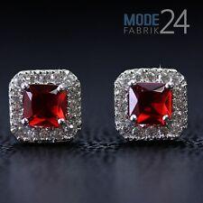 Damen echt 925 Sterling Silber Ohrringe Zirkonia Rubin Rot Princess Carre