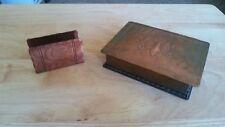 Vintage Desk Top Copper Cigarette Holder with Matching Business Card Holder