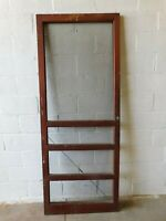 1900's Antique Wooden SCREEN DOOR Four Panel Craftsman Style Original Fir ORNATE