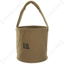 WW2 American Canvas Water Bucket - Repro USA Cotton Khaki Webbing Stamp New