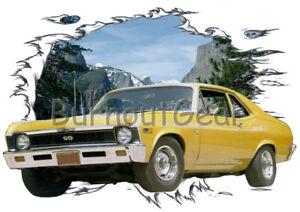 1969 Gold Chevy Nova SS Custom Hot Rod Mountain T-Shirt 69 Muscle Car Tees