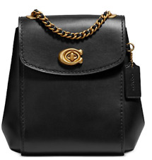🌺🌹Coach Mini Leather Parker Convertible Backpack Black/Gold