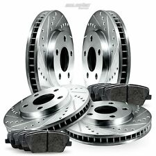 Fit 2012-2013 Fiat 500 Front Rear PSport Drill Slot Brake Rotors+Ceramic Pads