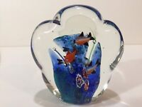 "Murano Art Glass Cloud Fish Aquarium, 5 1/2"" Tall x 5"" Widest, 3.6 Lbs Weight"