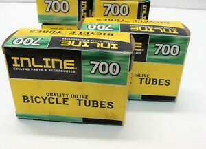 "~ 2 New Inline 27 x 1-1/4"" (700 x 28-32c) Bicycle Inner Tubes Schrader Valve ~"