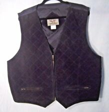 Hunting Vest Leather Suede Front  Black XL Waistcoat Sleeveless Jacket Quilted