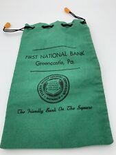 Vintage FIRST NATIONAL BANK GREENCASTLE PA Drawstring Money Bag