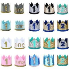 Baby Girls Boys Birthday Party Crown Letter Printed Sparkly Headband Photo Props