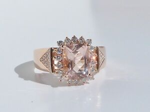 GENUINE! 2.66cts Morganite & G-H Diamond Ring, 14k Rose Gold + Cert & Valuation!