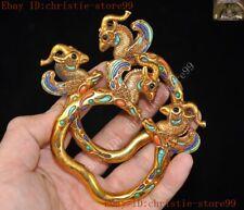 China dynasty Bronze 24 gold Gilt Inlay turquoise gem amulet bracelet hand ring