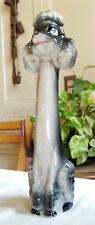 Vintage Tall Black & Gray Ceramic French Poodle Dog Salt Pepper Shaker Japan
