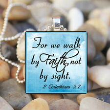 WALK BY FAITH Christian Bible Quote Hope Religious Glass Tile Pendant Necklace
