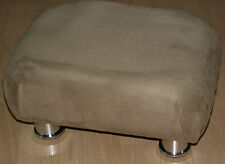Superb light brown faux suede small footstool small chrome metal legs foot stool