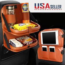 Car Organizer Back Seat Brown PU Leather Multi-Pocket Storage Bag Dining Table
