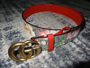 WOMEN'S GUCCI Leather Belt GG Buckle Size 34 / 85 cm