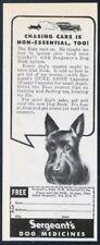 1944 Scottie dog Scottish Terrier art Sergeant's dog medicine vintage print ad