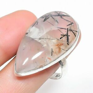 Black Rutile Gemstone Handmade Ethnic Jewelry Ring Size 7.5RL-29709
