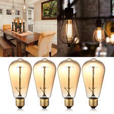 4er 60W Edison Vintage Glühfaden Glühbirne Lampe E27 Beleuchtung Retro Nostalgie