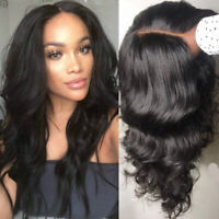 Natural Glueless Wavy Peruvian Remy Human Hair Wig Full Lace Front Wigs Black #Q