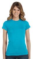 Anvil Women's 100% Cotton Fashion Fit Cap Sleeve Bottom Crewneck T-Shirt. 379