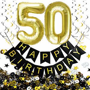 50. Geburtstag Deko Set - Folien Luftballons 50 Deckenhänger Girlande Konfetti