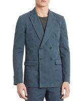 Calvin Klein Mens Sport Coat Blue Size Large L Double Breasted Jacket $198 #400