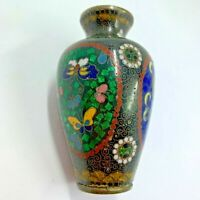 Vintage Beautiful Cloisonne miniature vase flowers butterflies on brass 3.5""