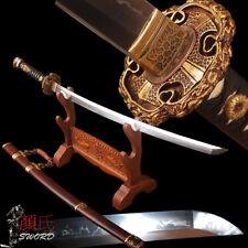 Hand Polished Japanese Tachi Samurai Sword Clay Hardened 1095 Carbon Steel Sharp