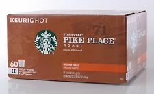 Starbucks Coffee Pike Place Medium Smooth Roast Arabica 60 K-Cup Pods KEURIG HOT