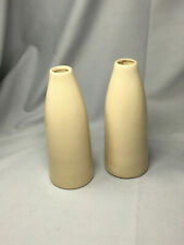 Pair Cream Coloured Ceramic Vases, 24cm tall