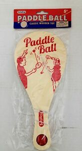 """Schylling Paddle Ball Game 11"""" Wooden w/ Rubber Ball & Catch Hole Classic Retro"""