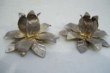 """Antique Metal Leaves Candle Holder Figurine 2"""" tall 3 .5"""" Across"""