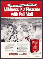 1956 Water Skiing Woman Friends Smoking on Boat Pall Mall Cigarettes print ad