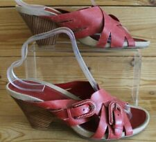 Superb  Clarks UK 7  Sandals Mules  Red Leather Strappy Wooden Heels