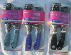 Goody Value Pack Vent Hair Brush & Detangling Comb Set Detangle Dry Color Grip