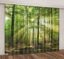 3D Window Curtains Printing Blockout Drapes Fabric Morning Sunlight Forest Scene