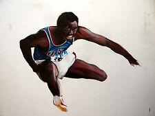Athlète Noir Américain Belle et Rare Gouache Sport American Athlete Drawing