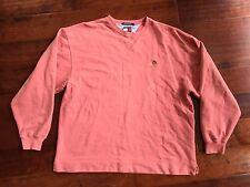 Vintage 90s Tommy Hilfiger Crewneck Sweatshirt Crest Logo L Pullover Salmon Pink