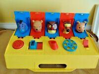 vtg 1975 Pop Up Disney Winnie Pooh Gabriel carry push slide EEyore Piglet Toy