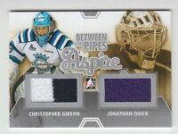 (56801) 2012-13 ITG BETWEEN THE PIPES C. GIBSON/J. QUICK GAME USED JERSEY SILVER