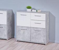 Comò moderno cassettiera in colore bianco e grigio marmo 3 ante 2 cassetti