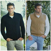 Mens KNITTING PATTERN Roll Collar Cable Jumpers Two Designs Chunky KingCole 4283