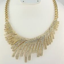 FABULOUS Statement Gold Glam Crystal Bib Necklace by Rocks Boutique Packaged