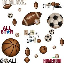 Sports 25 BiG Wall Stickers FOOTBALL BASKETBALL SOCCER  Room Decor Ball Decals