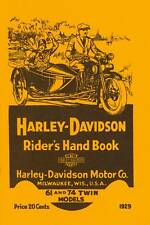 1929 HARLEY-DAVIDSON  RIDER'S HAND BOOK - ANTIQUE REPRODUCTION