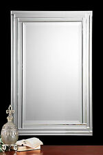 "NEW MODERN 34"" SMOOTH POLISHED STEPPED MIRROR FRAME BEVELED WALL VANITY MIRROR"