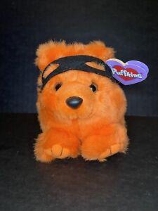 Limited Edit Vintage 1999 Puffkins Plush TRICK Orange Bear Halloween New w/ Tags