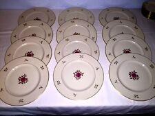 """12 Lenox Rhodora Pink Rose Gold Leaf P-471 ~ 10 5/8"""" Dinner Plates ~ Excellent"""