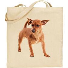 CS Tan Miniature Pinscher dog breed cotton shopping/shoulder/beach/tote bag